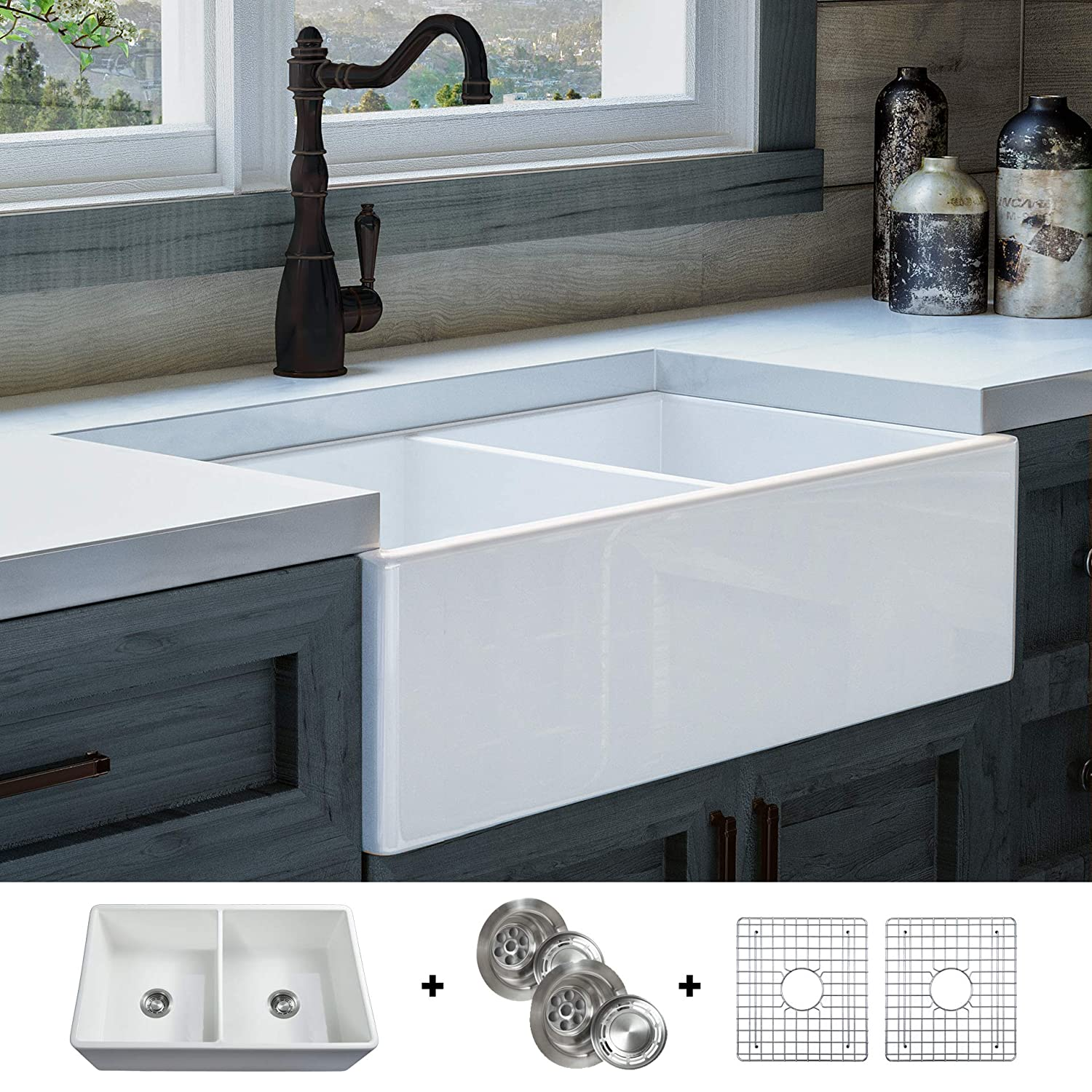 Luxury 33 inch Solid NOT HOLLOW , Ultra-Fine Fireclay Modern Farmhouse Kitchen Sink in White, Double Bowl, Flat Front, includes Grids and Drains, FSW1003 by Fossil Blu