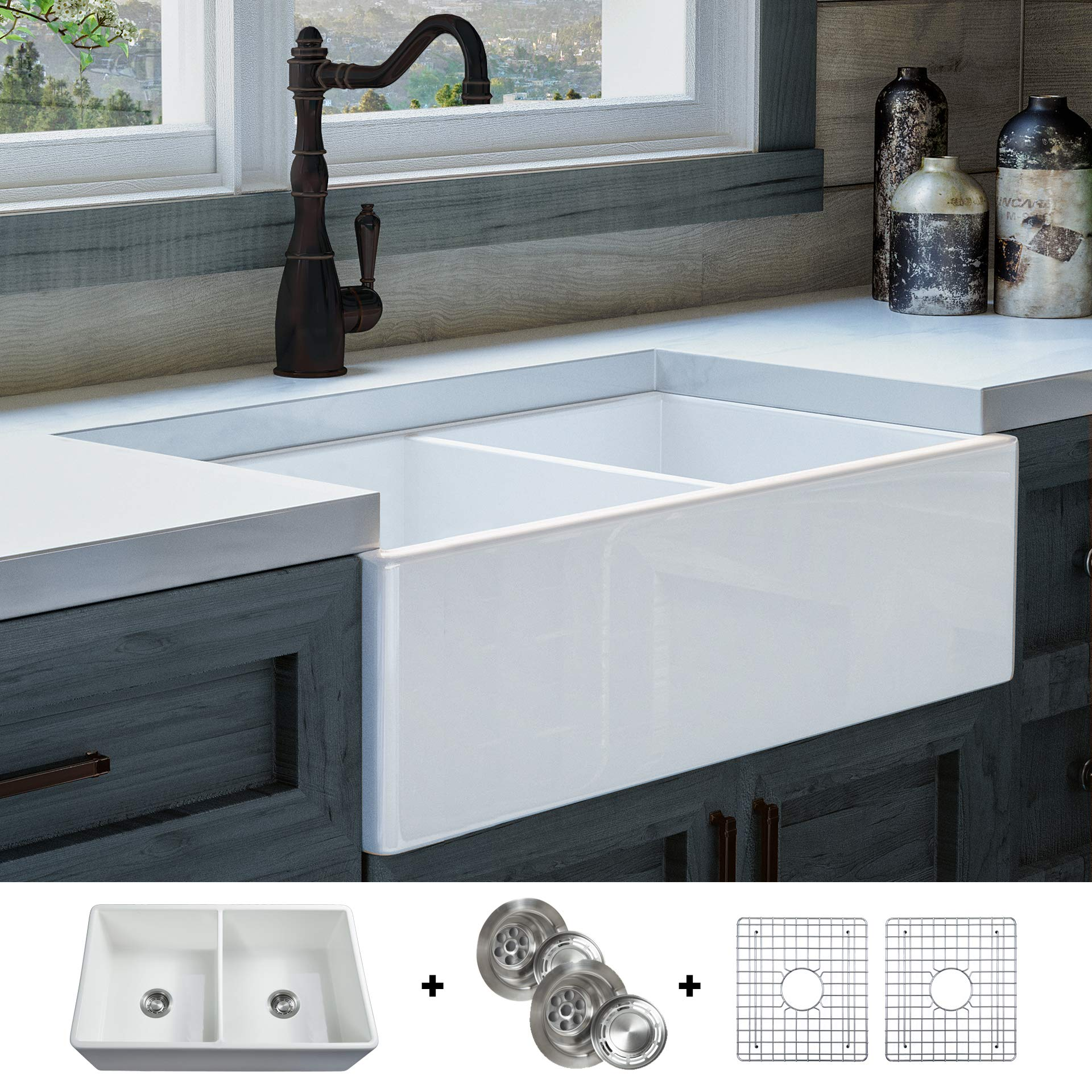 Luxury 33 inch Pure Fireclay Modern Farmhouse Kitchen Sink in White, Double Bowl, Flat Front, includes Stainless Steel Grids and Drains, FSW1003 by Fossil Blu …