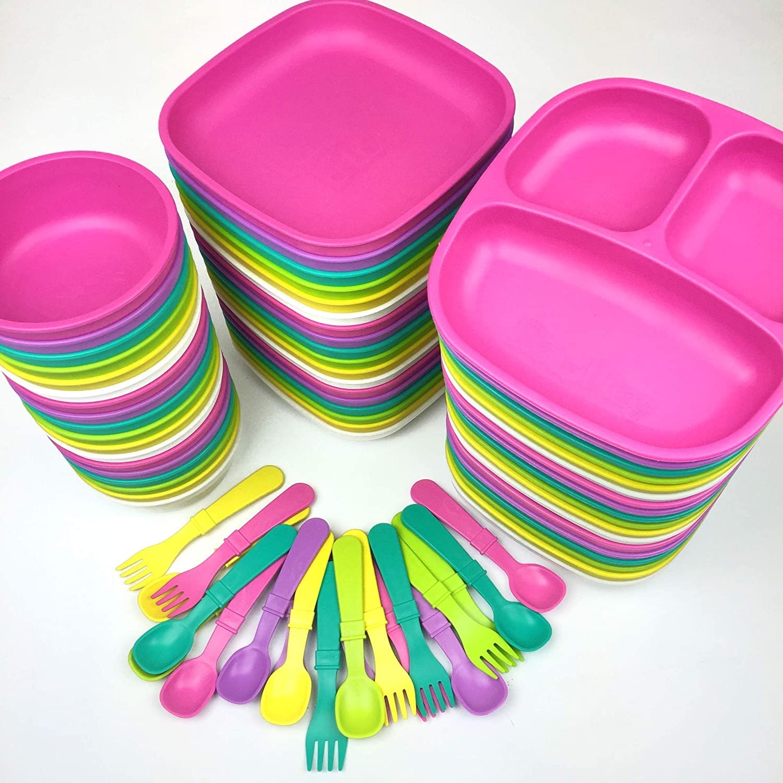 stabile stoviglie per bambini materiale riciclato sostenibile set da 3 pezzi Re-Play senza BPA piatto per bambini con divisorio viola, piatto con suddivisione