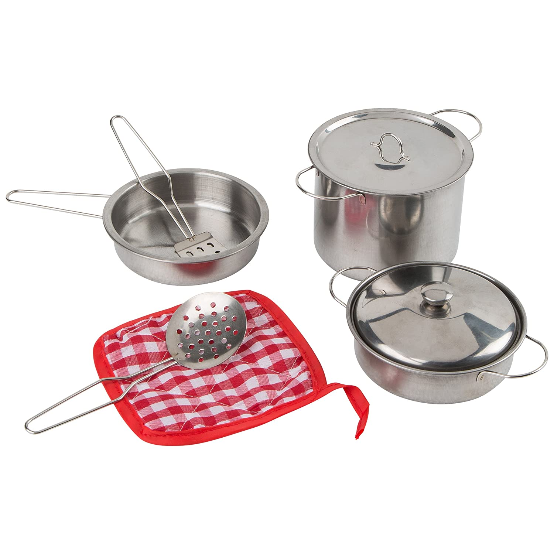 Ultrakidz Johntoy Batería de Cocina de Juguete, ollas y sartén para la Cocina de Juguete, Juguete de Cocina, 8 Piezas