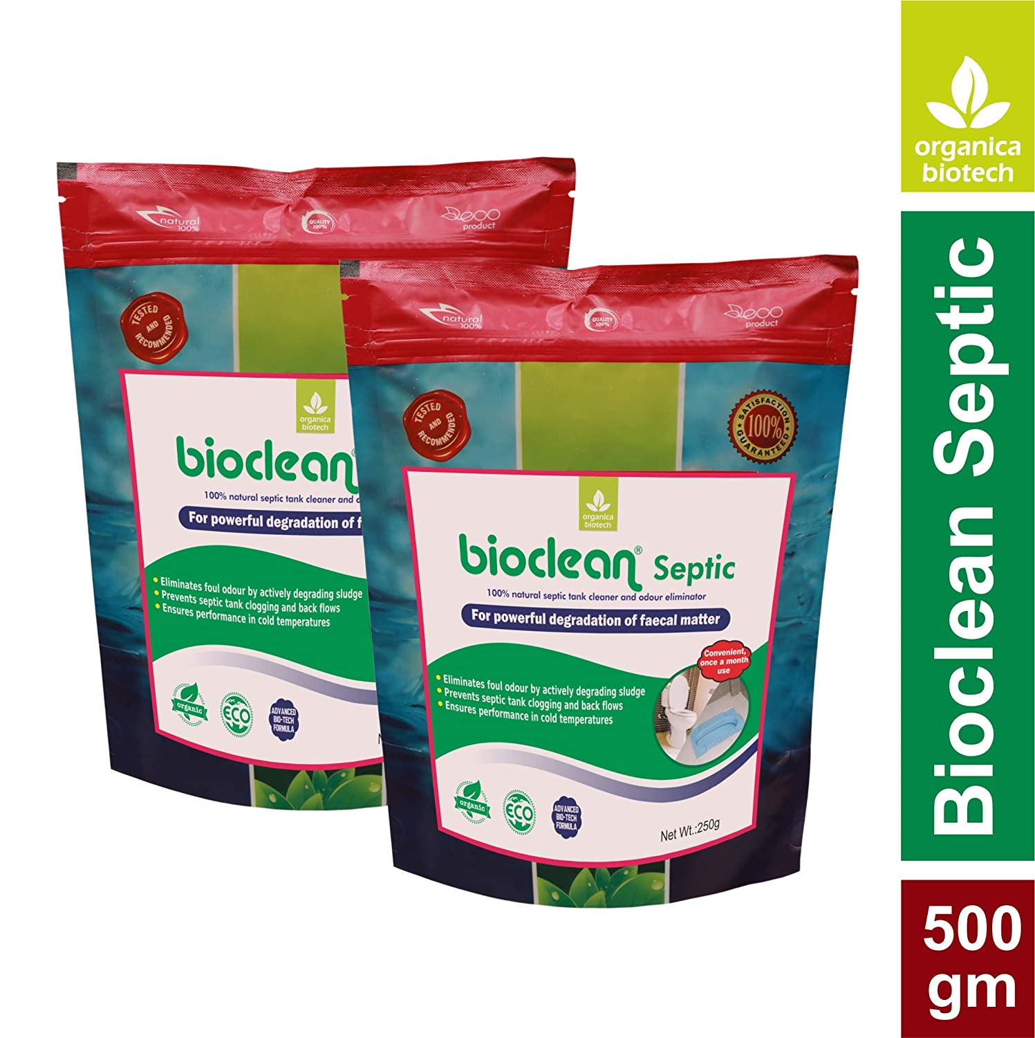 Organica Biotech Bioclean Septic Tank Cleaner and Odor Remover, Natural and  Effective Bacteria Powder (Double Pack-500 gm)