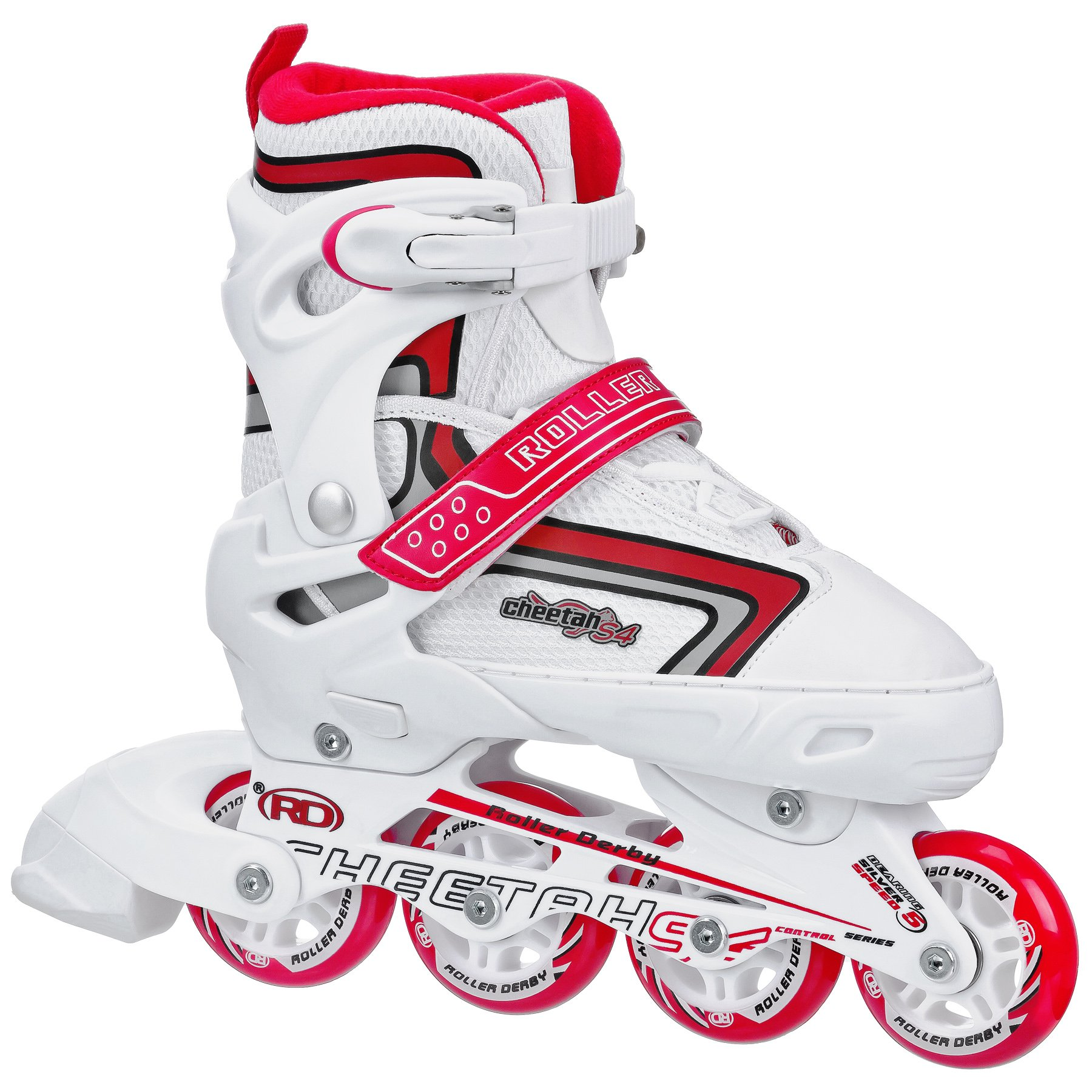 Roller Derby Girl's Cheetah S4 Adjustable Inline Skates, Small (12-2)
