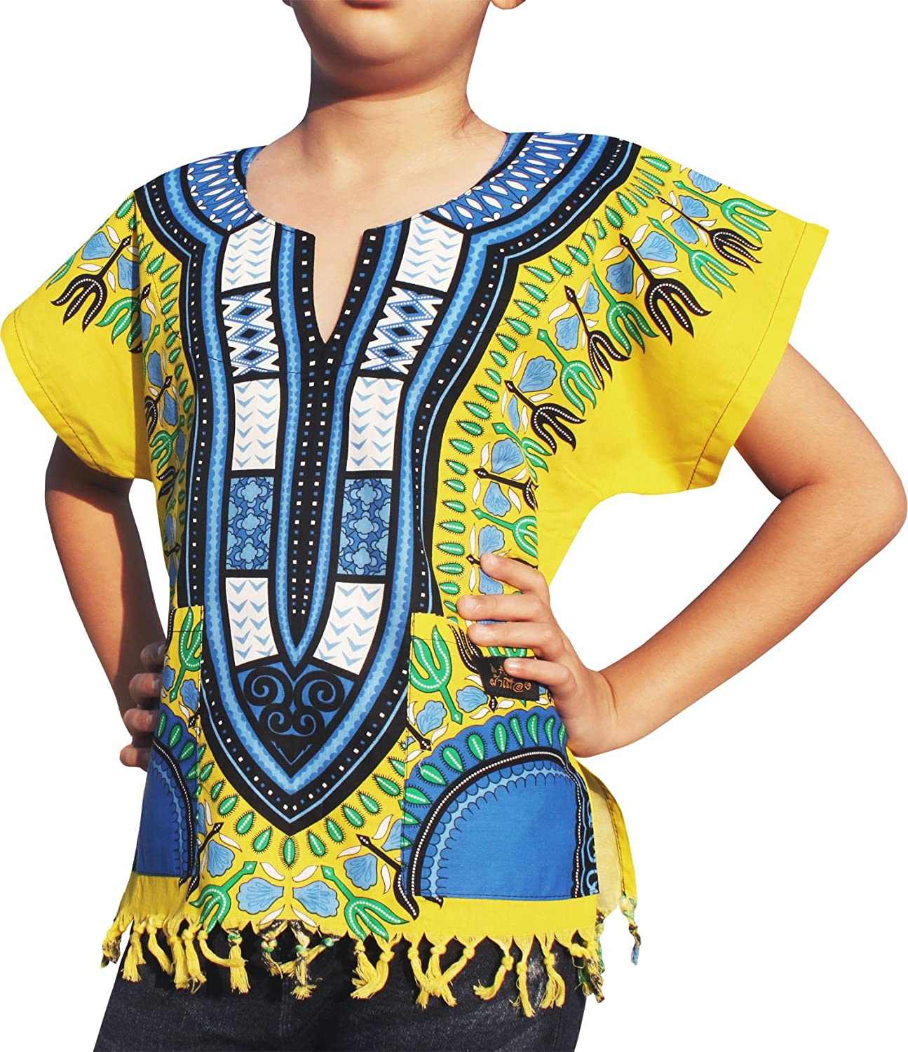 Raan Pah Muang RaanPahMuang Cotton Childs Dashiki Shirt Tassels Pockets Bold Colours variant36050AMZ