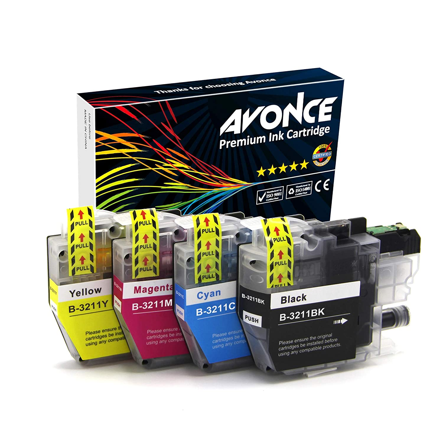 Avonce 4 pack High Yield Compatible Ink Cartridges for Brother LC3211 LC3211BK LC-3211 universal LC3213 LC3213BK for Brother DCP-J772DW, ...