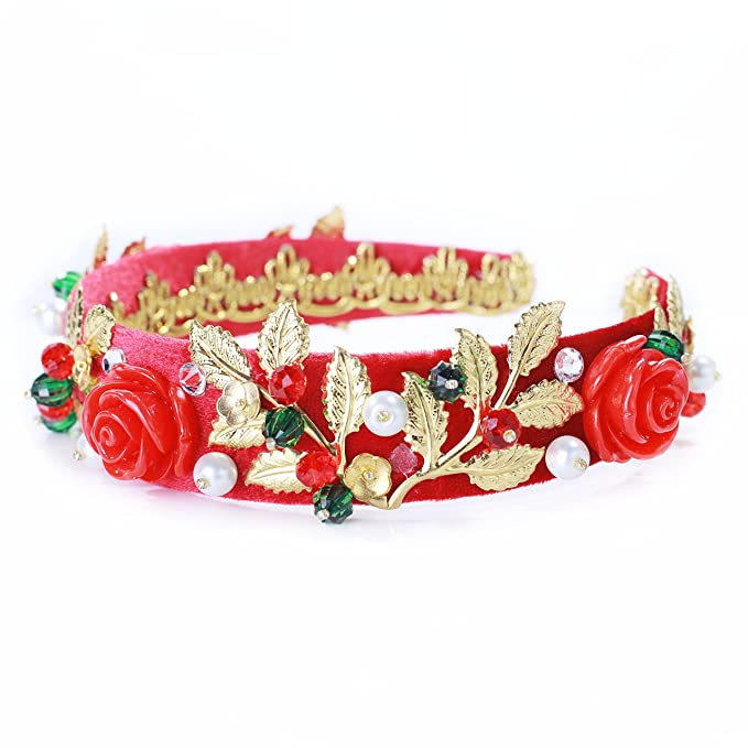 Crownsdream Red Baroque Headband Tiara Baroque Gold Red