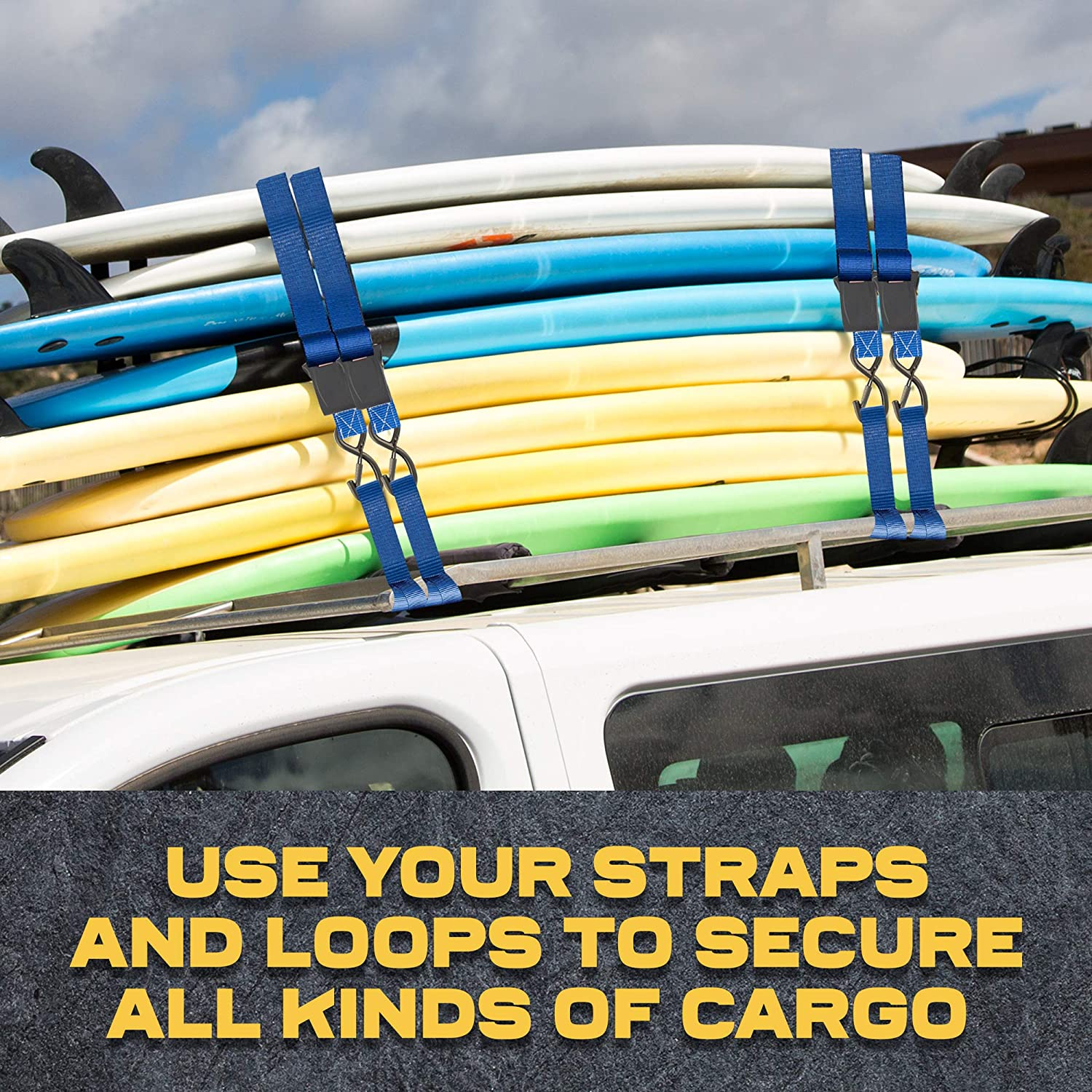 """1700Lb Break Strength for Furniture Pack of AUGO Extra Strong Ratchet Straps /& Soft Loops TVs Surfboards 4 1/"""" by 15/' Ratchet Straps w//S-Hook Safety Latches /& Soft Loop Tie Downs 4 Etc."""