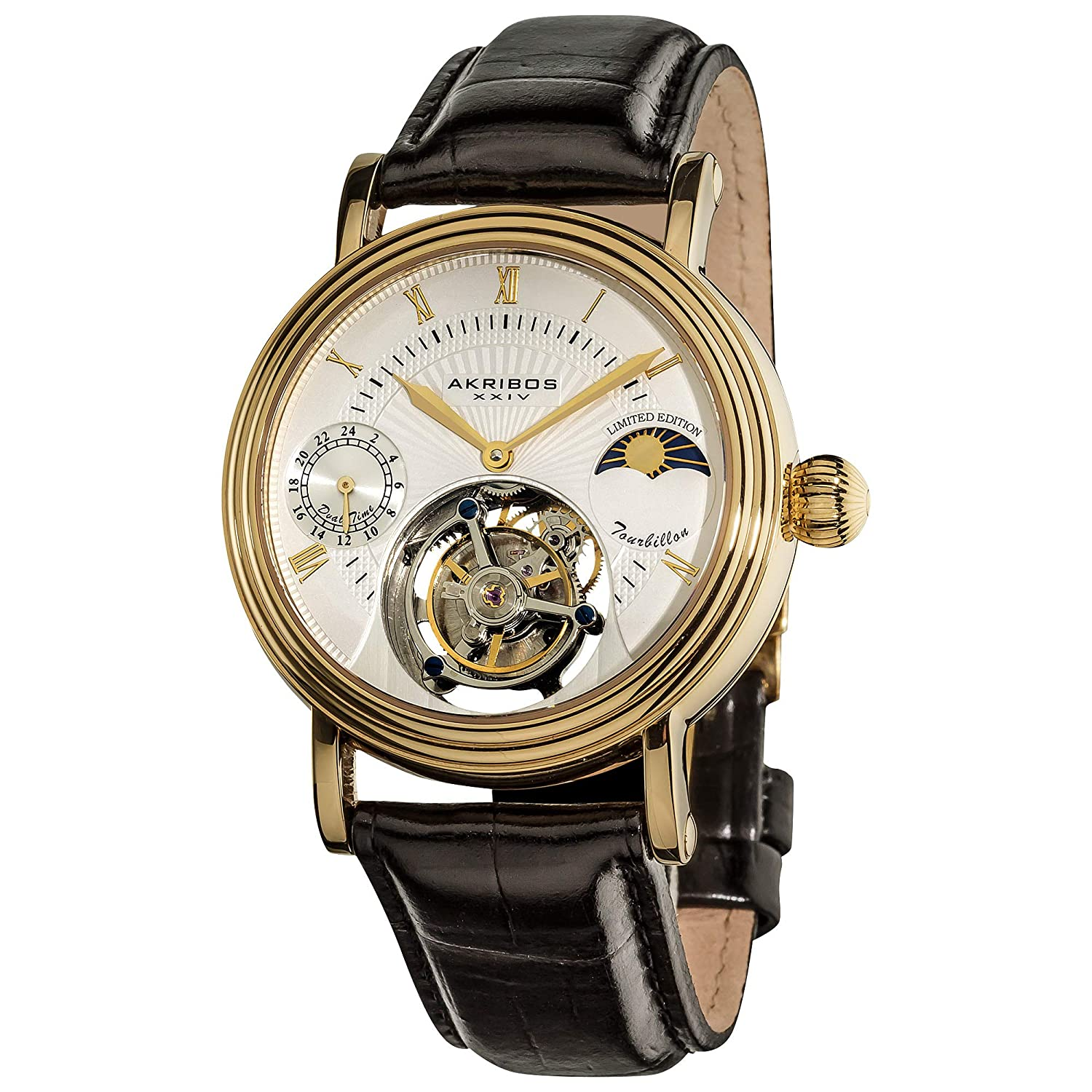 Akribos Mechanical Tourbillon Watch - Skeletonized Face with ...