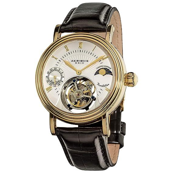 Akribos Mechanical Tourbillon Watch - Skeletonized Face with ...