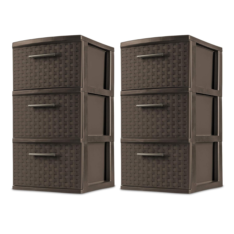Sterilite 26306P02 Decorative 3-Drawer Storage Weave Tower, Espresso