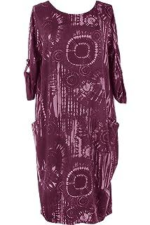 f75f7c81065c TEXTURE Ladies Womens Italian Lagenlook Long Sleeve Abstract Print 2 Pocket  Cotton Tulip Tunic Midi Dress