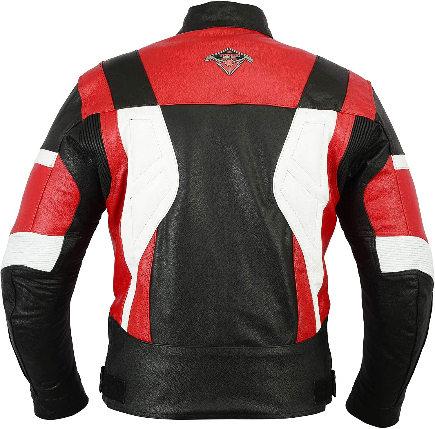 All Sizes Mens Texpeed Red /& White Armoured Leather Motorcycle//Motorbike Jacket