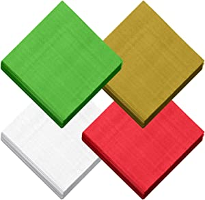 Aneco 120 Pieces Christmas Cocktail Napkins Disposable Beverage Luncheon Paper Napkins 2 Ply for Christmas Holidays Dinner Party Supplies, 3 Classic Solid Colors, Red, Green, Gold, White