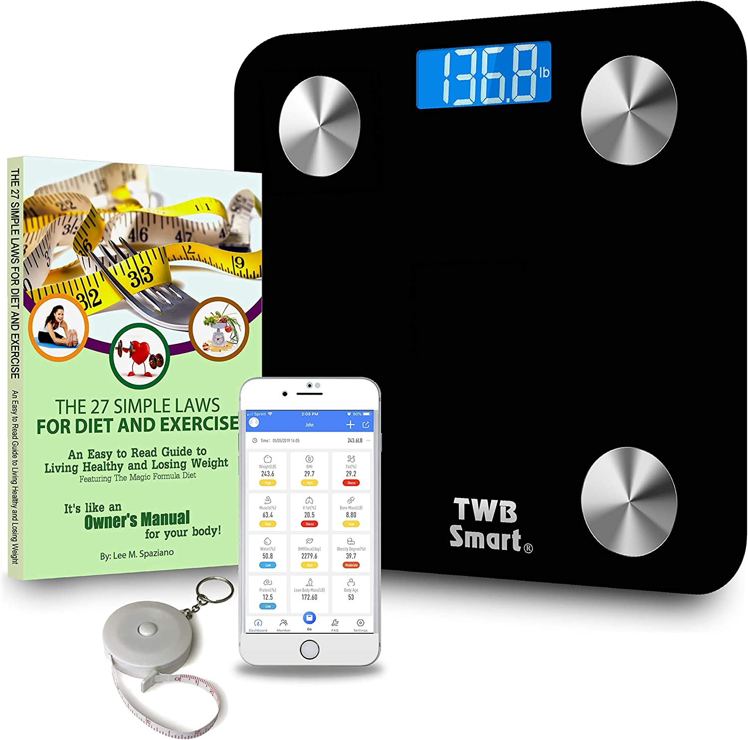 TWB Smart Bluetooth Scale Deluxe Gift Set – Large Digital Display Tracks BMI, Body Fat, Muscle More. Includes Free App, Paperback Book 27 Simple Laws for Diet and Exercise, and Bonus Tape Measure