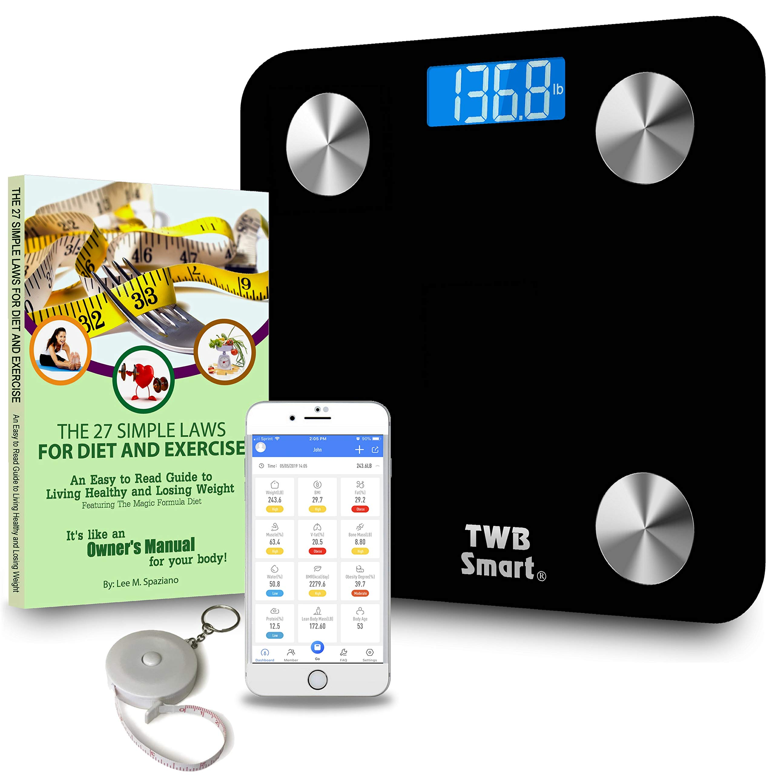 TWB Smart Bluetooth Scale Deluxe Gift Set - Large Digital Display Tracks BMI, Body Fat, Muscle & More. Includes Free App, Paperback Book: 27 Simple Laws for Diet and Exercise, and Bonus Tape Measure