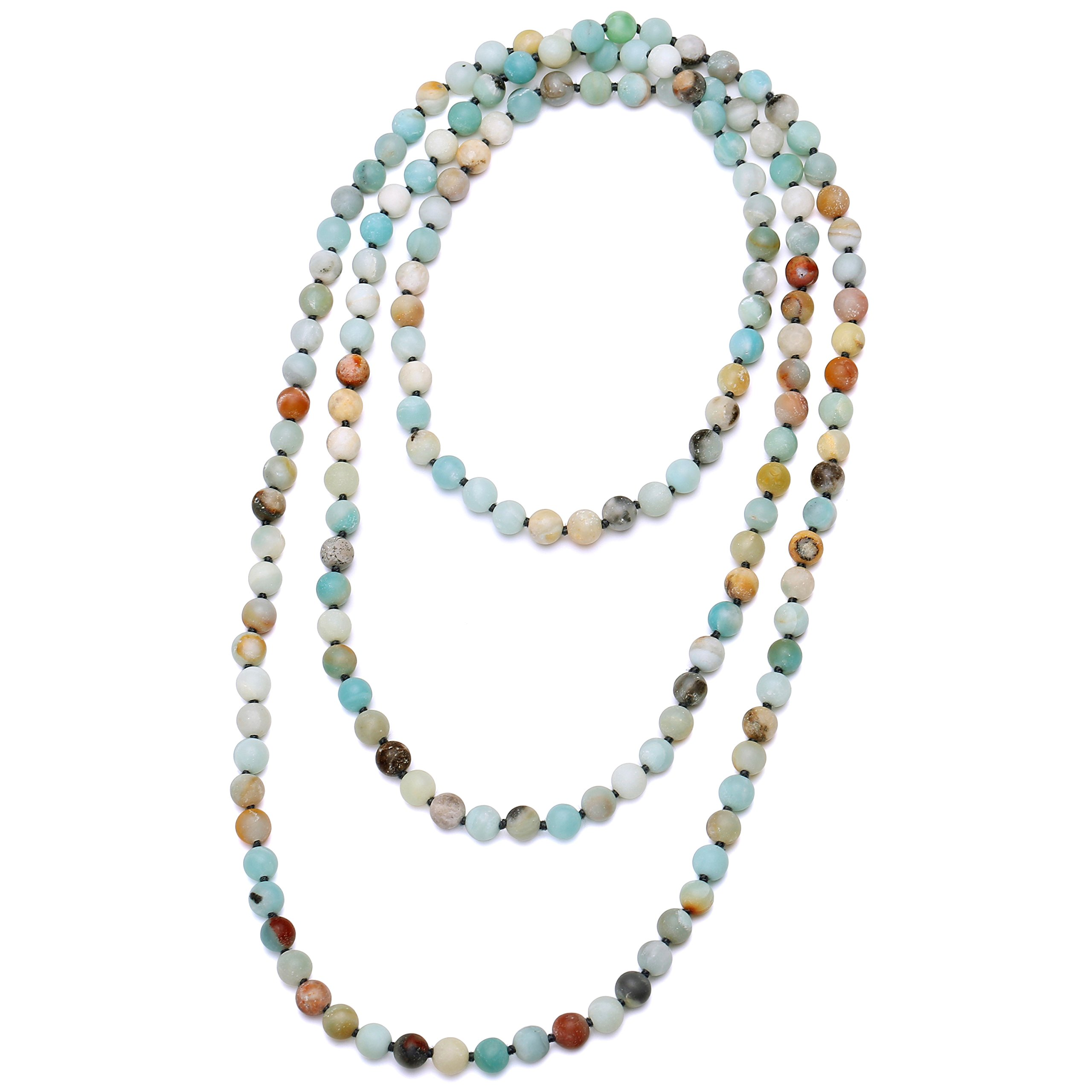 Natural Matte Amazonite Stones Endless Necklace Long Knotted 8 mm Beaded Handmade Jewelry 59'' by Aobei