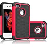 iPhone 5S Case, iPhone SE Case, Tekcoo(TM) [Tmajor Series] [Red/Black] iPhone 5 5S SE 5SE Case Shock Absorbing Hybrid Defender Rugged Cover Skin Shell Hard Plastic Outer & Rubber Silicone Inner