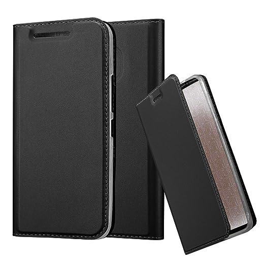 Cadorabo Hülle für HTC One M9 - Hülle in SCHWARZ – Handyhülle mit Standfunktion und Kartenfach im Metallic Look - Case Cover