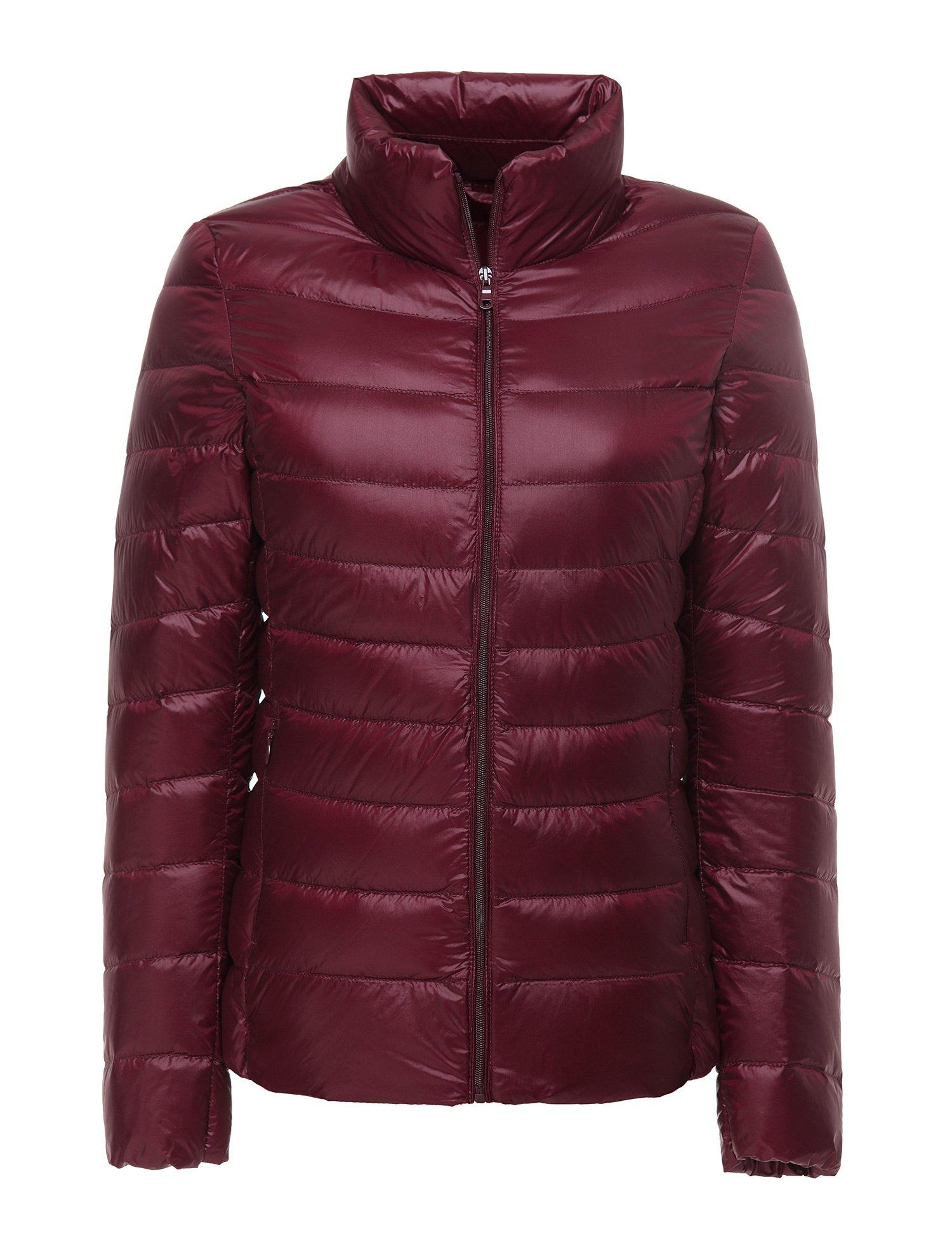 CHERRY CHICK Women's Ultralight Down Jacket(Medium, Burgundy)