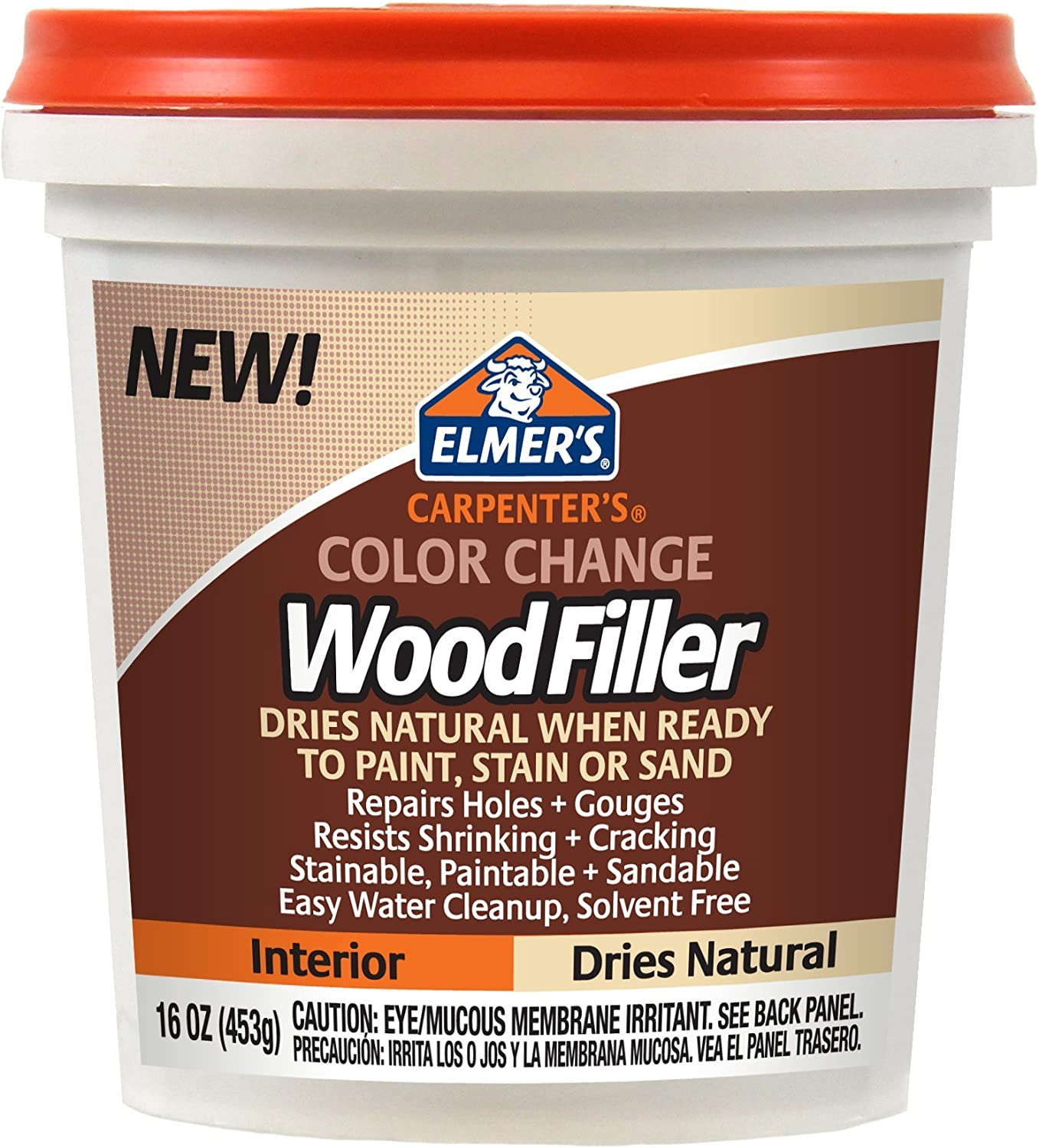 Elmer's E914Carpenter's Color Change Wood Filler, 16-Ounce, Natural