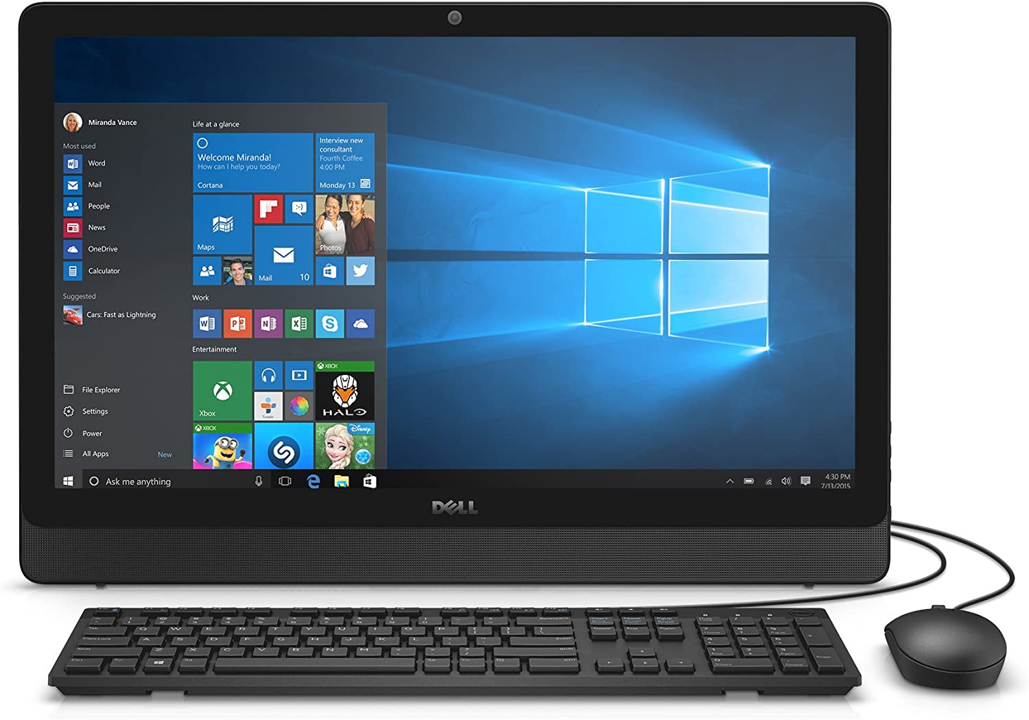 Dell Inspiron i3455-1241BLK 23.8 Inch FHD All-in-One (AMD E2, 4 GB RAM, 500 GB HDD) AMD Radeon R2 Graphics