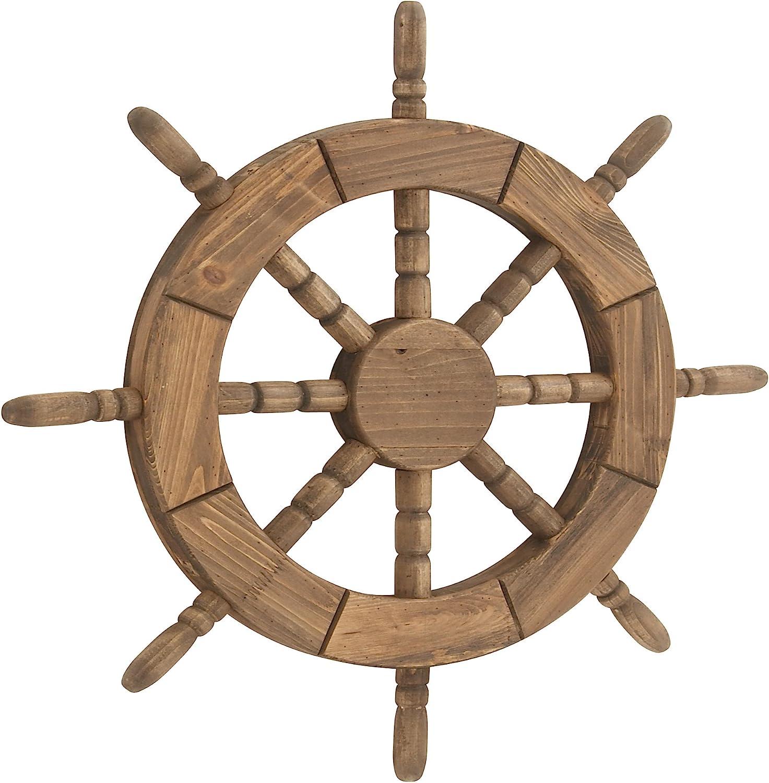 Deco 79 20366 Ship Wheel Wooden Wall Decor