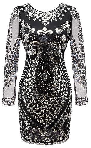 Izacu Flocc® Women's 1920s Gatsby Sequin Art Deco Scalloped Flapper Dress