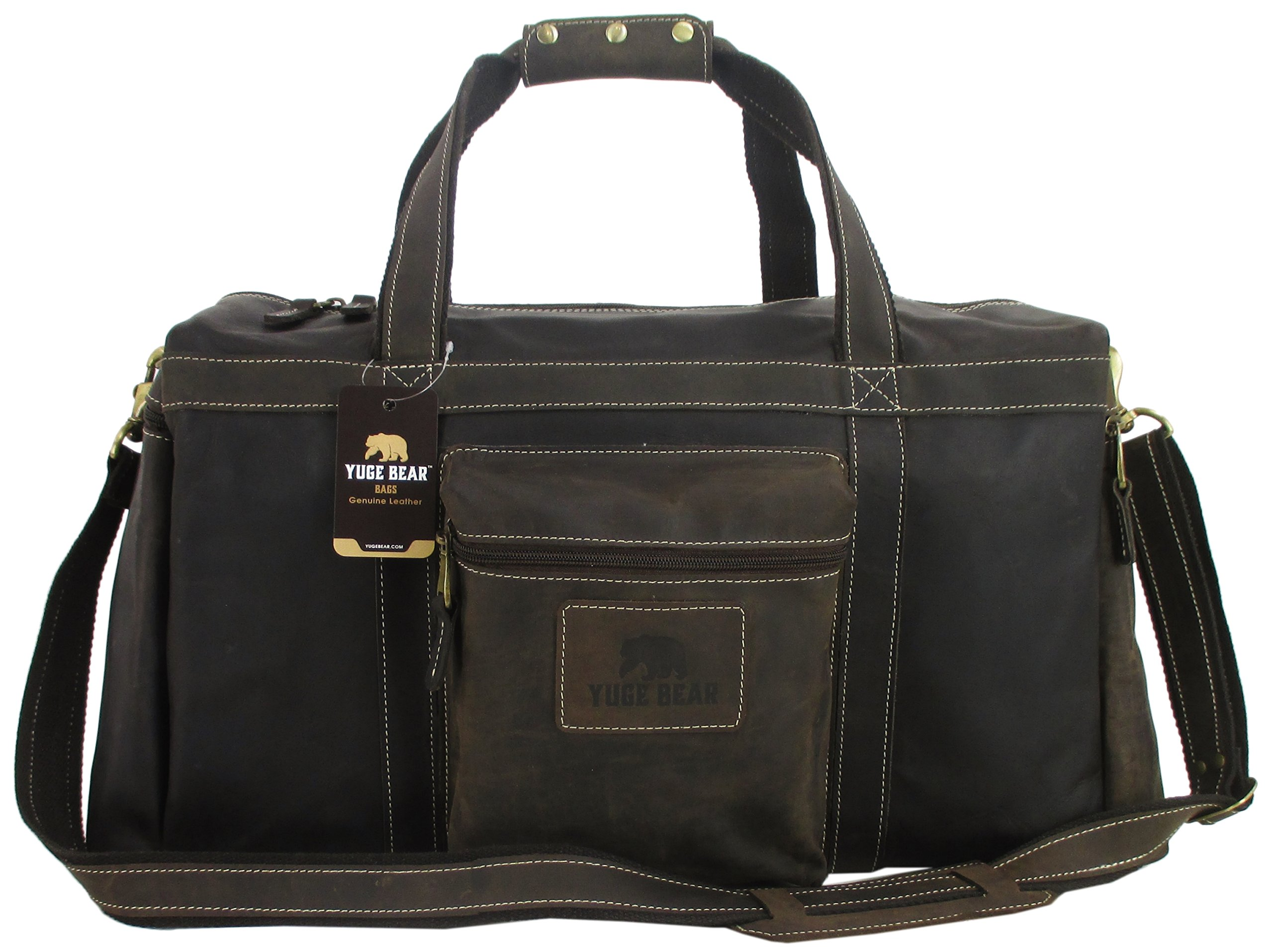 Yuge Bear 22'' BH5 Full Grain Leather Overnight Travel Duffel Carry On Bag