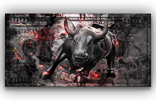 Charging Bull Art Wall Street Canvas Print Office Decor Pop Art Entrepreneur Motivation Hustle Motivational Art 100 Dollars Bull Statue 24″ x 48″
