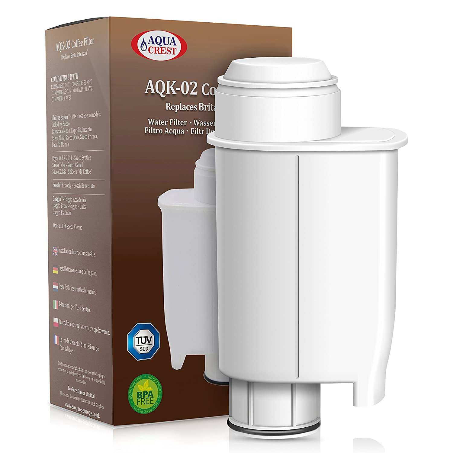 AQUACREST AQK-02 Intenza+ Replacement for Brita Intenza+ Philips Saeco CA6702/00 Intenza Coffee Water Filter EcoPure