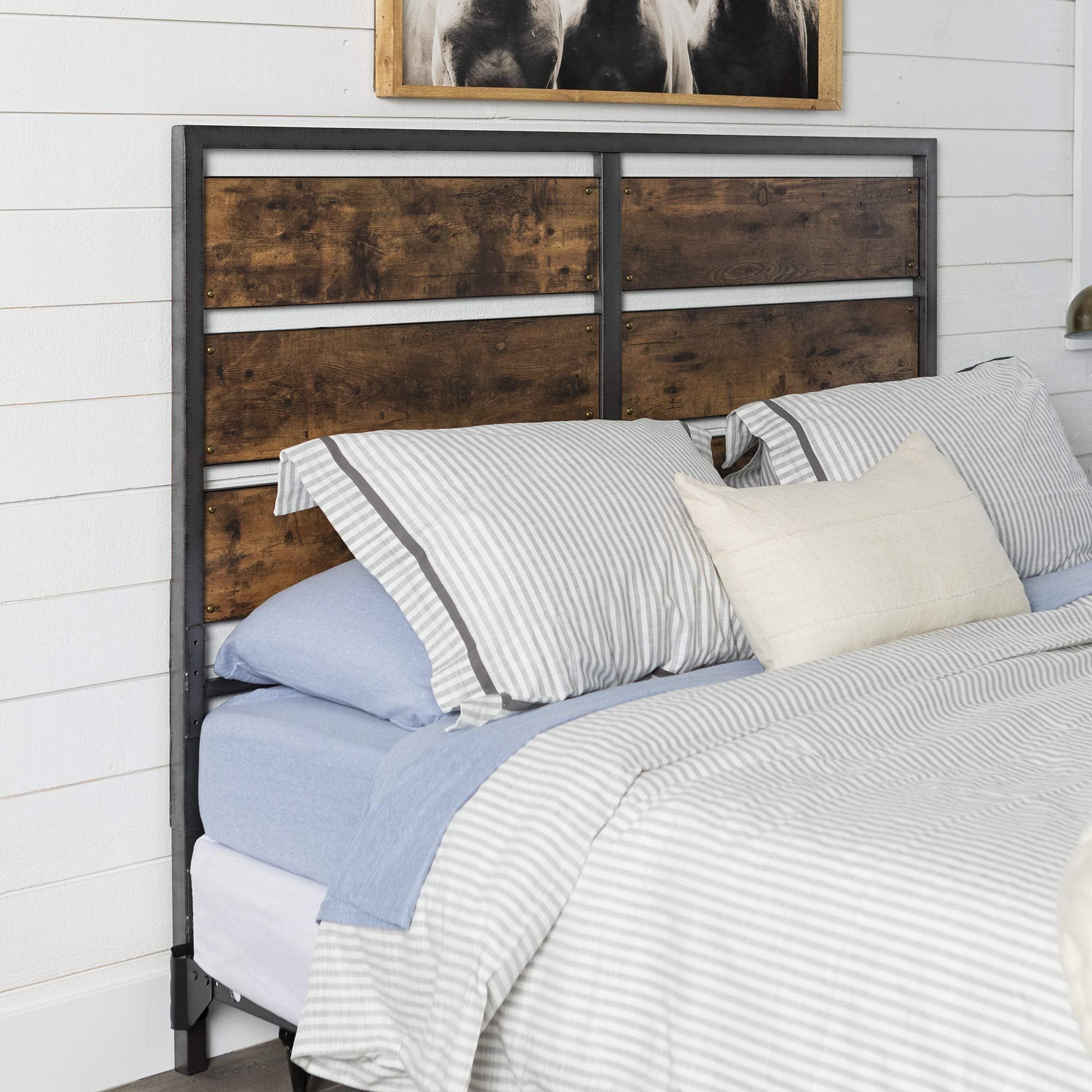 WE Furniture Metal and Wood Plank Queen Headboard
