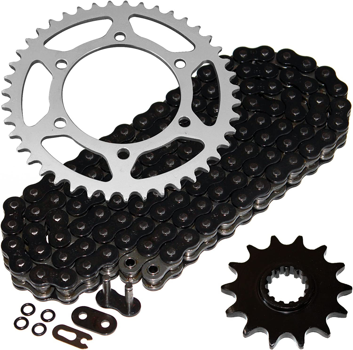Caltric Black O-Ring Drive Chain /& Sprockets Kit Compatible With Kawasaki Ex250-K Ninja 250R Se 2009-2012