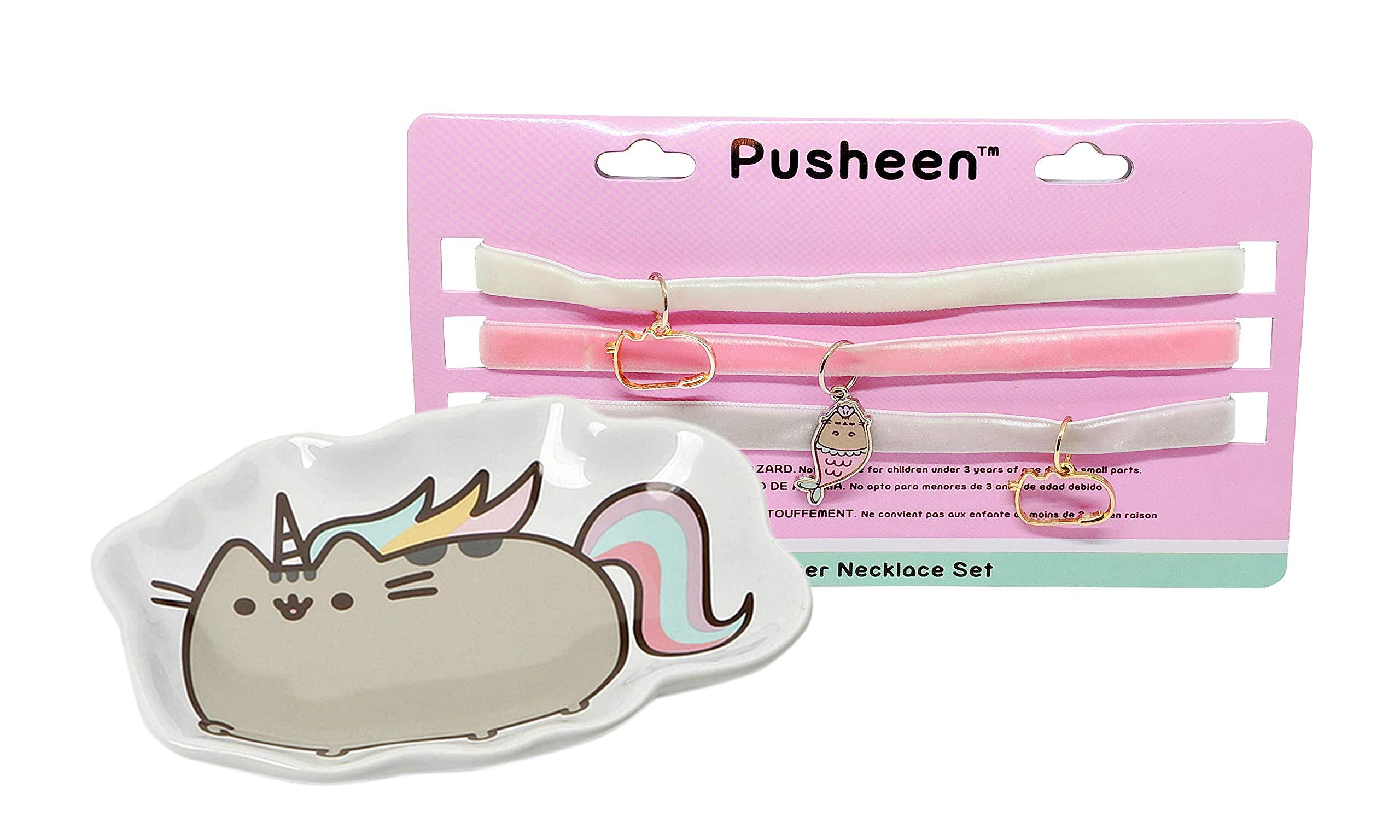 Pusheen Unicorn Tray Velvet Charm Choker Necklace Set