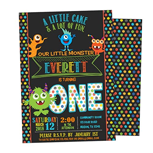 Image Unavailable Not Available For Color Chalk Monster Invitations Boy Birthday 1st 2nd 3rd