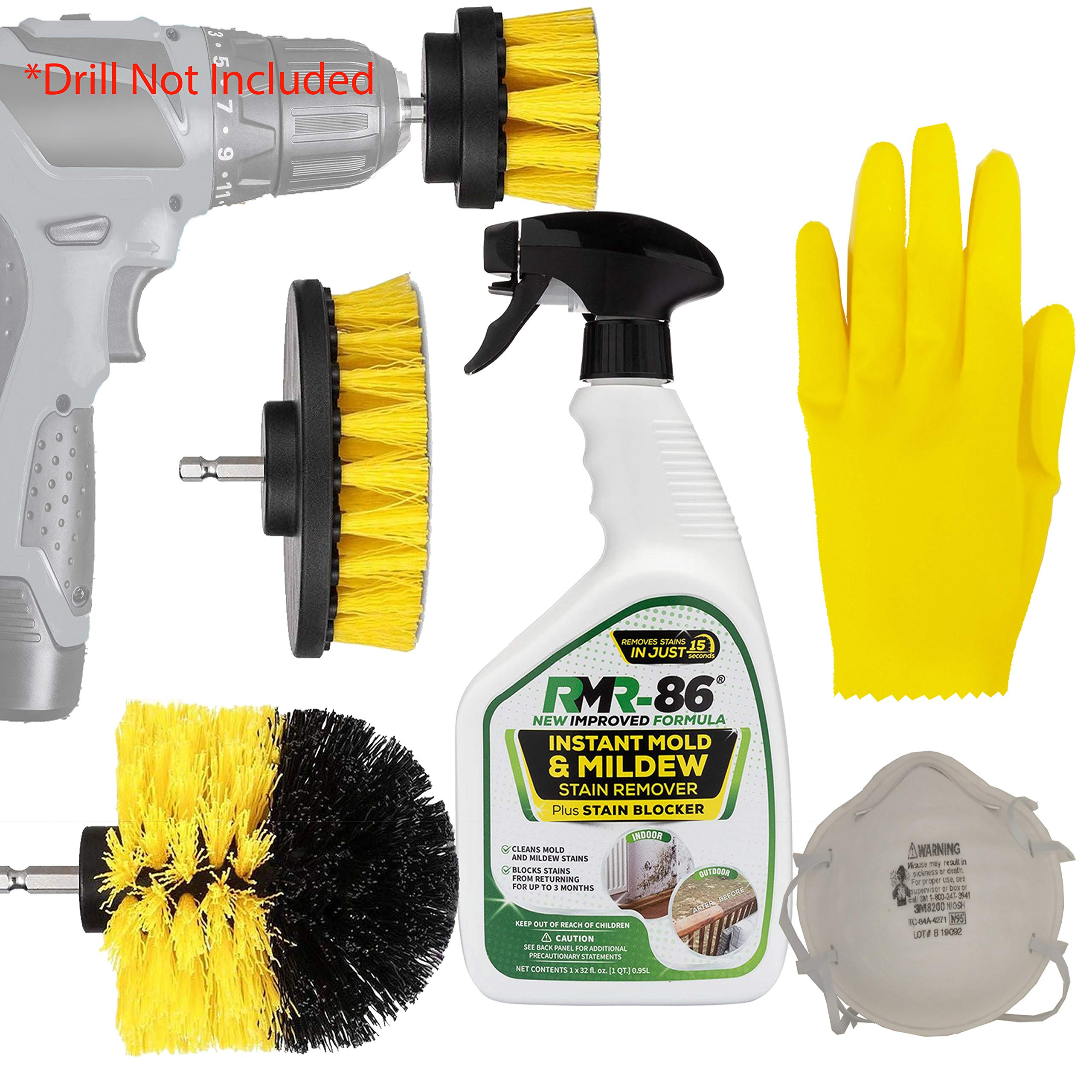 Complete Mold And Mildew Remover Killer Kit: RMR-86 Black Stain control Cleaner Removal Spray, Drill Brush Power Scrubber Attachment Set, 1 3M N95 Particle respirator Mask, 1 Thick Medium Latex Gloves by HeroFiber