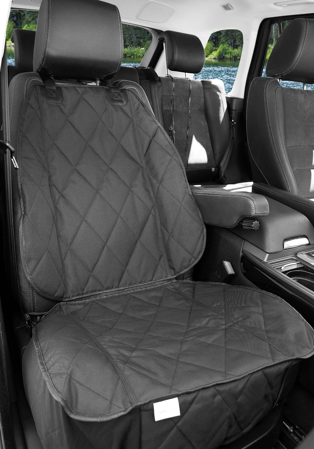 BarksBar Pet Front Seat Cover for Cars - Black, WaterProof & Nonslip Backing by BarksBar (Image #2)