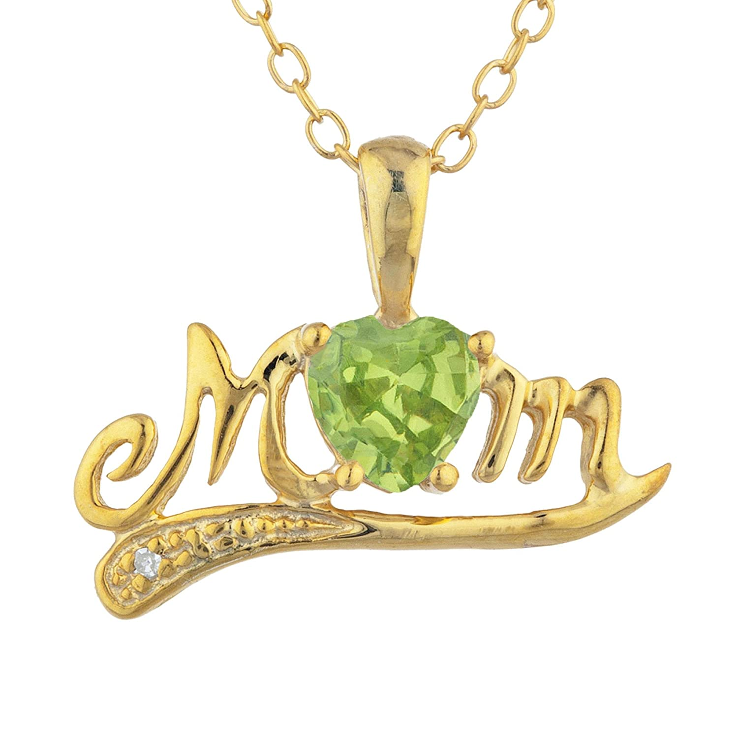 Tennis Simulated Peridot & Diamond Heart Mom Bracelet 14Kt Yellow Gold Plated Over .925 Sterling Silver