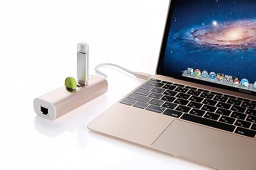 2 opinioni per Gambolex–USB 3.1Type C USB-C Multiple 3porte Hub con cavo di rete Ethernet