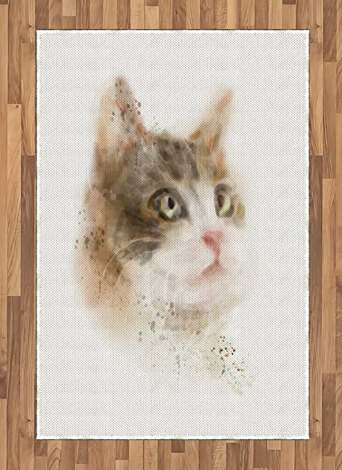 Lunarable Cat Area Rug Vintage Blurry Kitten Painting Domestic Furry Animal Kitty Pet Artwork Image Flat Woven Accent Rug For Living Room Bedroom Dining Room 4 X 5 7 Tan And Beige