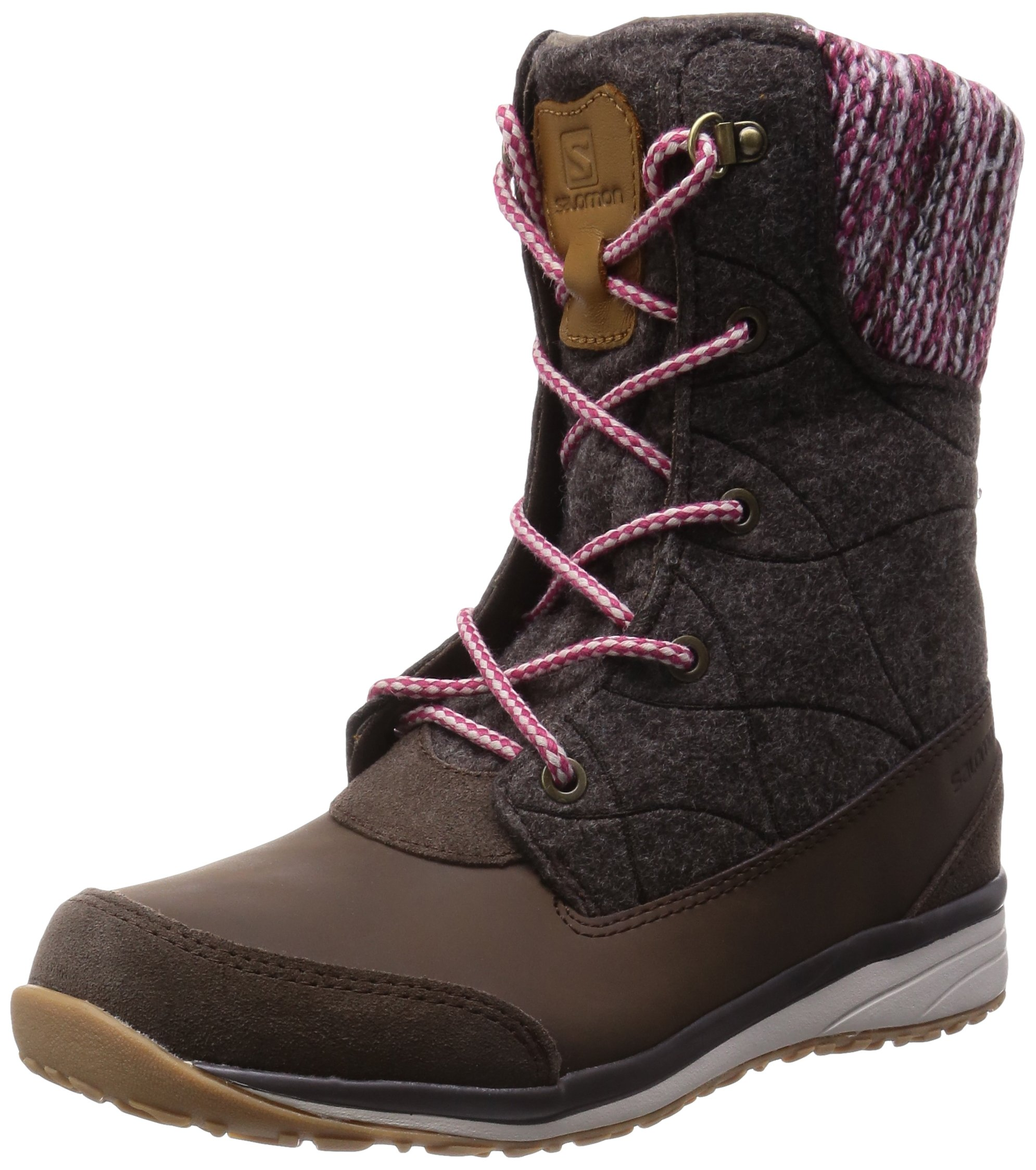 Salomon Women's Hime Mid Snow Boot, Absolute Brown-X/Absolute Brown-X/Light Grey, 7.5 D US by Salomon