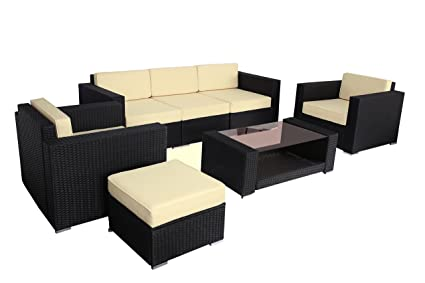 Attractive Polar Aurora 7pcs Outdoor Patio Furniture Rattan Wicker Sectional Sofa  Chair Couch Set Deluxe (Black