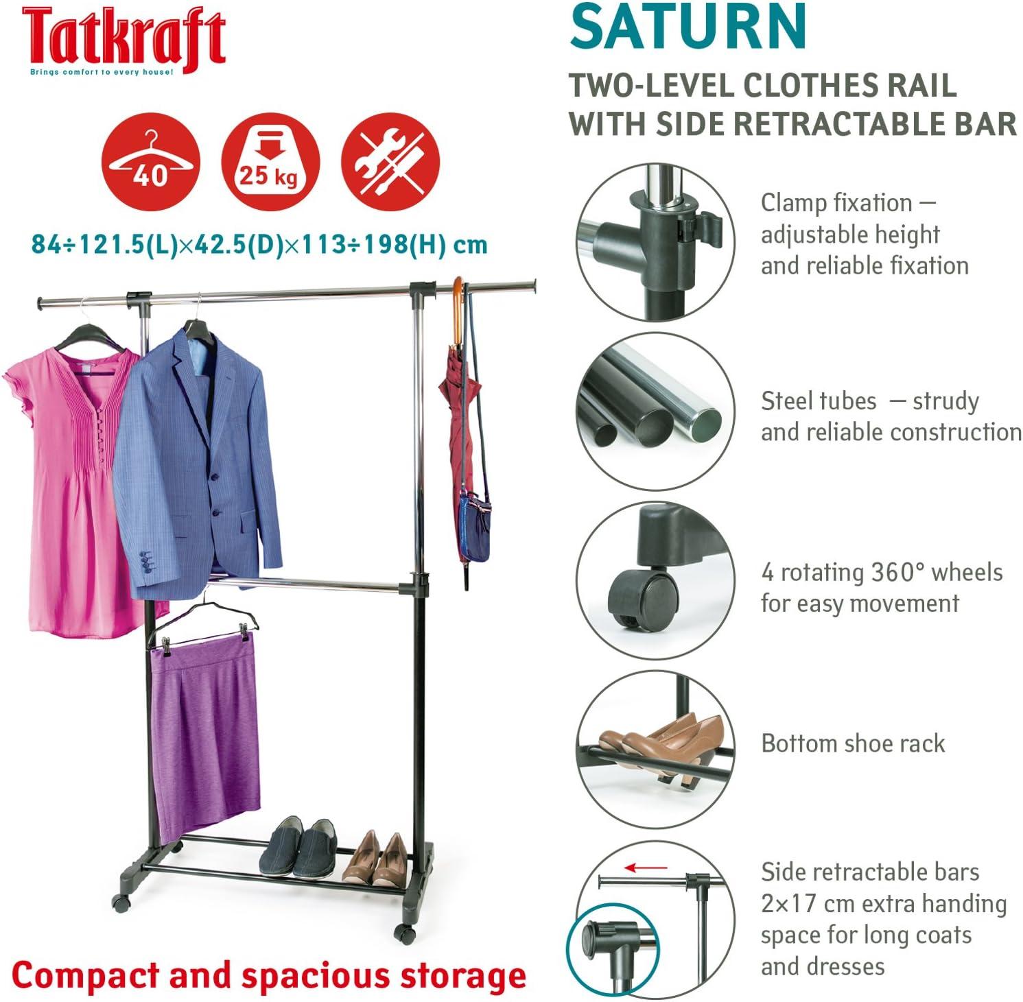 Tatkraft Saturn Perchero de Ropa con Ruedas 84-121.5X42.5X113-198 cm Acero Cromado