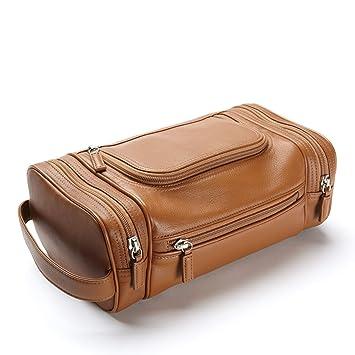 e7fd85147698 Amazon.com   Multi Pocket Toiletry Bag - Full Grain Leather - Cognac  (brown)   Toiletry Bags   Beauty