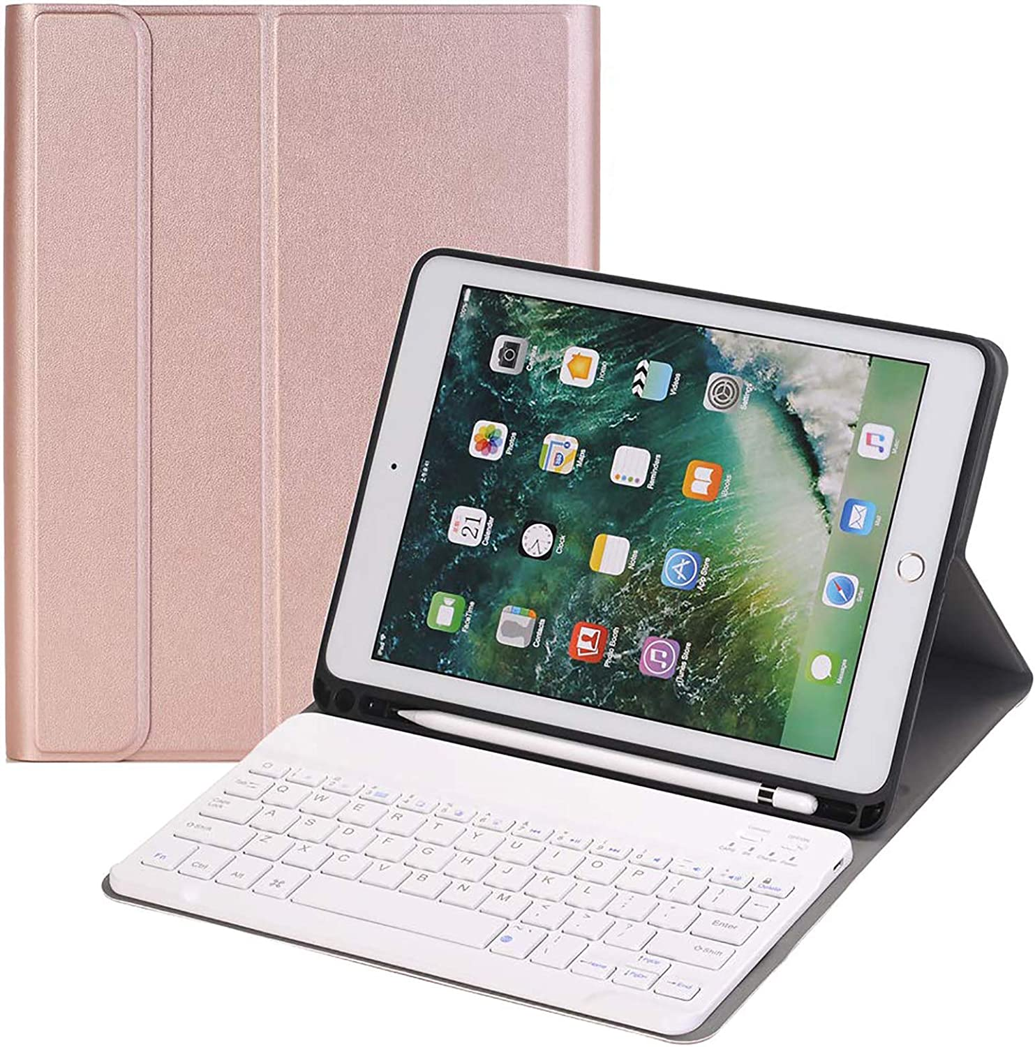 Keyboard Case 10.2 inch for iPad 7th Generation 10.2 2019 iPad 7th Gen, Auto Sleep/Wake Detachable Wireless Bluetooth Keyboard Magnetic Smart Case Cover Built-in Pencil Holder, Rose Gold
