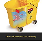 Rubbermaid Commercial WaveBrake Mop Bucket and Side Press Wringer Combo, 44-Quart, Yellow, FG618688YEL
