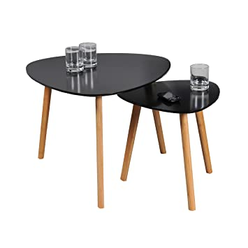 Weber Industries Lot De 2 Tables Basses Gigognes Onyx Bois Noir 60