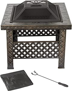 "Fire Pit Set, Wood Burning Pit -Includes Screen, Cover and Log Poker- Great for Outdoor and Patio, 26 Inch"" Woven Metal Square Firepit by Pure Garden"