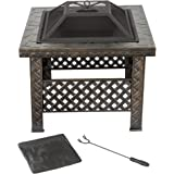 """Fire Pit Set, Wood Burning Pit -Includes Screen, Cover and Log Poker- Great for Outdoor and Patio, 26 Inch"""" Woven Metal Square Firepit by Pure Garden"""