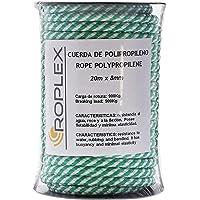 ROPLEX Bobina de cuerda de polipropileno (PP) 20m x 8mm, blanca/verde, cuerda trenzada de amarre, multiusos, carga de…