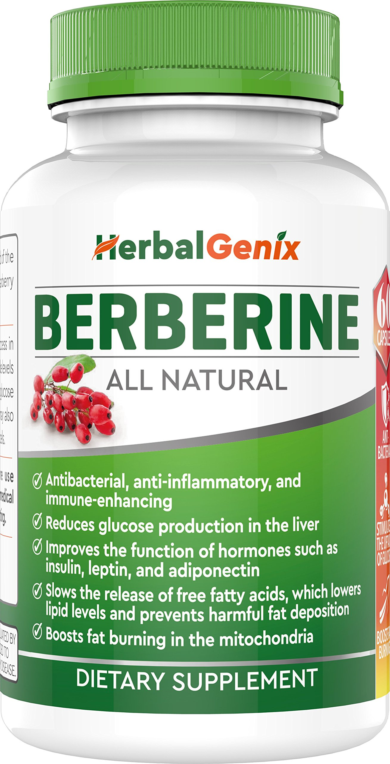 Lower Cholesterol, Triglyceride, Weight & Lower Blood Sugar with HerbalGenix Berberine 500mg HCL Supplement. All Natural Ingredients. Antioxidant, AMPK Supplement. Non-GMO/Gluten Free/Vegan Caps