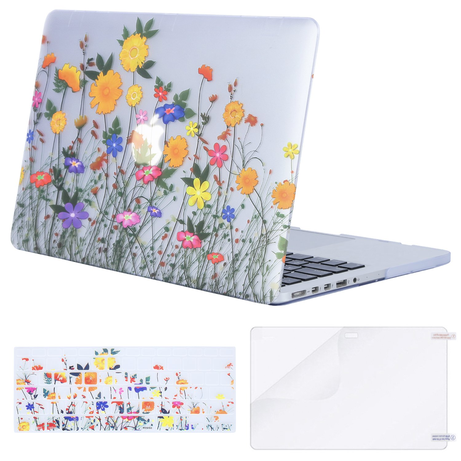 MOSISO Plastic Pattern Flower Hard Case & Keyboard Cover & Screen Protector Only Compatible MacBook Pro Retina 13 Inch (W/O CD-ROM)(A1502/A1425), Release 2015/2014/2013/end 2012, Sunflower